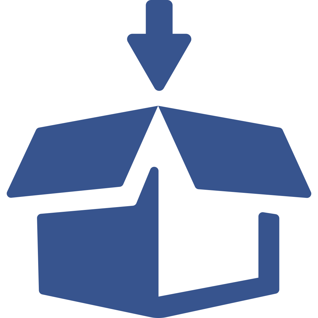 Icon for packing a box with an arrow on top